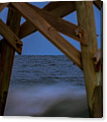 Moon Rise Under Pier Canvas Print by Francis Trudeau