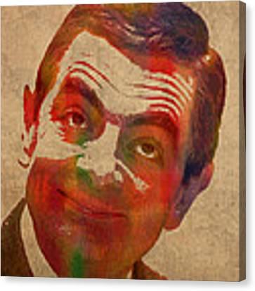 Mr Bean Rowan Atkinson Watercolor Portrait On Worn Distressed Canvas Canvas Print by Design Turnpike