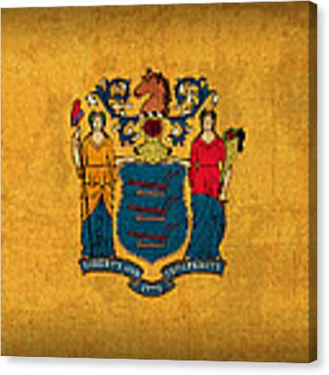 New Jersey State Flag Art On Worn Canvas Canvas Print