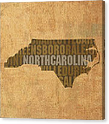 North Carolina Word Art State Map On Canvas Canvas Print by Design Turnpike