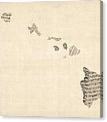 Old Sheet Music Map Of Hawaii Canvas Print