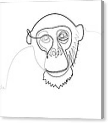 Oneline Monkey Canvas Print