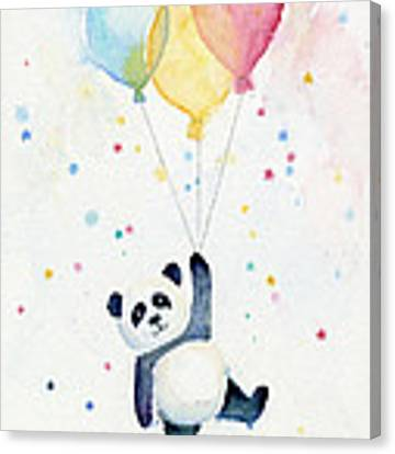 Panda Floating With Balloons Canvas Print
