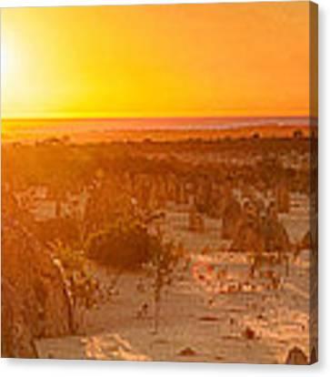 Panoramic Photo Of Sunset At The Pinnacles Canvas Print by Yew Kwang