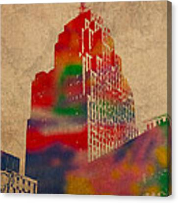 Penobscot Building Iconic Buildings Of Detroit Watercolor On Worn Canvas Series Number 5 Canvas Print