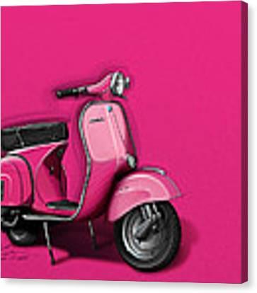 Pink Vespa Canvas Print by Etienne Carignan