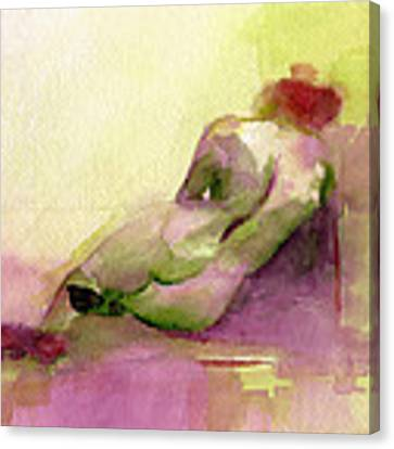 Reclining Woman Magenta Green And Orange Watercolor Painting Canvas Print by Beverly Brown