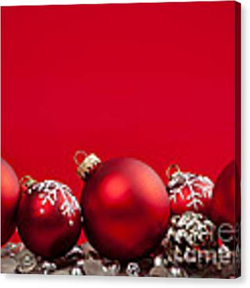 Red Christmas Baubles And Decorations Canvas Print