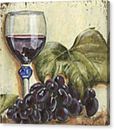 Red Wine And Grape Leaf Canvas Print