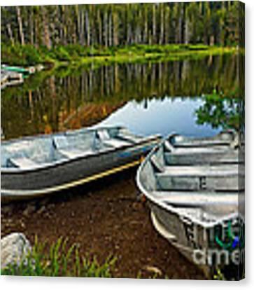Row Boats Lining A Lake In Mammoth Lakes California Canvas Print