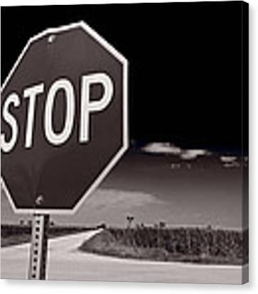 Rural Stop Sign Bw Canvas Print by Steve Gadomski