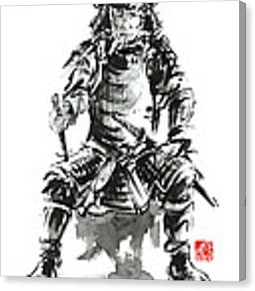 Samurai Sword Bushido Katana Armor Silver Steel Plate Metal Kabuto Costume Helmet Martial Arts Sumi- Canvas Print