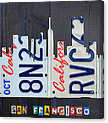 San Francisco California Skyline License Plate Art Canvas Print