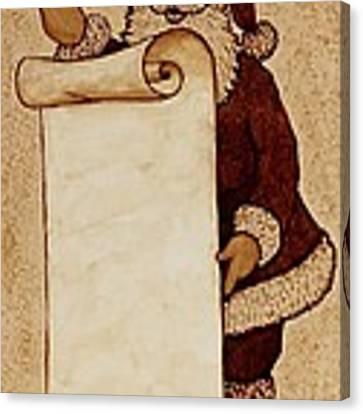 Santa Claus Wishlist Original Coffee Painting Canvas Print by Georgeta  Blanaru