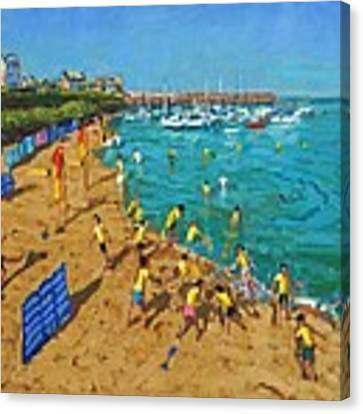 School Outing New Quay Wales Canvas Print by Andrew Macara