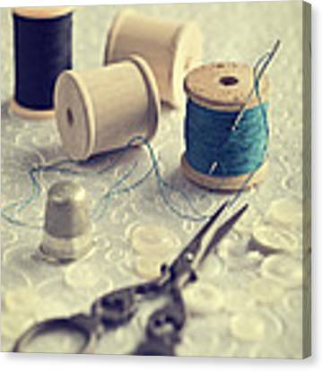 Sewing Cotton Canvas Print by Amanda Elwell