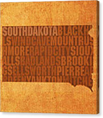 South Dakota Word Art State Map On Canvas Canvas Print