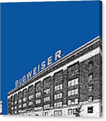 St Louis Skyline Budweiser Brewery - Royal Blue Canvas Print by DB Artist