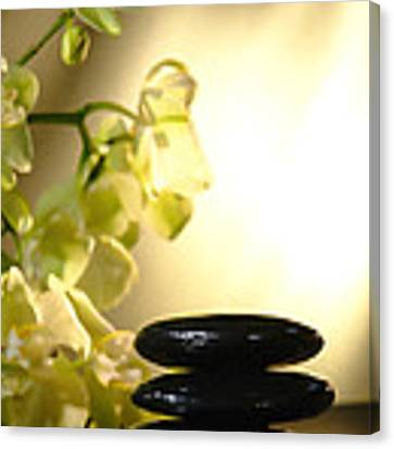 Stone Cairn And Orchids Canvas Print