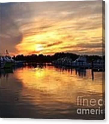 Sunset At The Indian River Marina Delaware Canvas Print by Kim Bemis