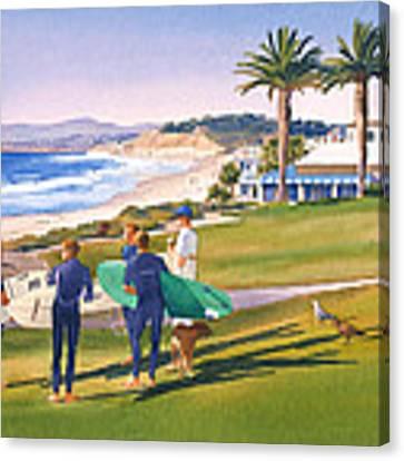 Surfers Gathering At Del Mar Beach Canvas Print