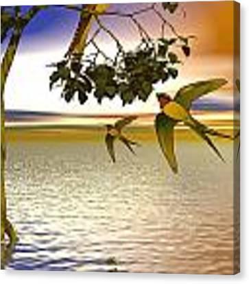 Swallows At Sunset Canvas Print by Sandra Bauser Digital Art
