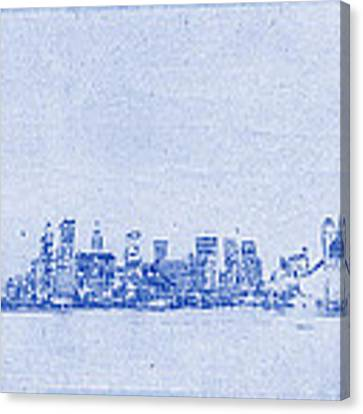 Sydney Skyline Blueprint Canvas Print
