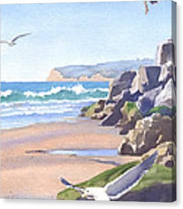 Three Seagulls At Coronado Beach Canvas Print