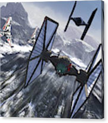 Tie Fighters On Patrol Over An Artic Canvas Print by Kurt Miller