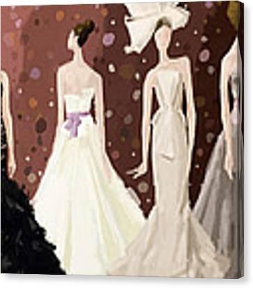 Vera Wang Bridal Dresses Fashion Illustration Art Print Canvas Print by Beverly Brown