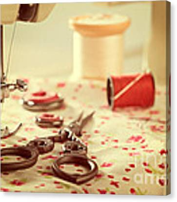 Vintage Sewing Items Canvas Print by Amanda Elwell