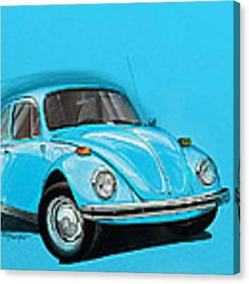 Volkswagen Beetle Vw Blue Canvas Print by Etienne Carignan
