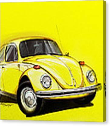 Volkswagen Beetle Vw Yellow Canvas Print by Etienne Carignan