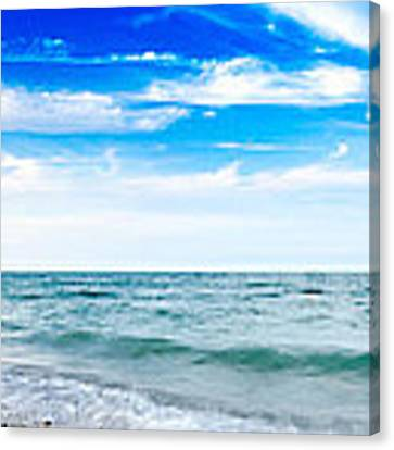 Walking The Shore - Extended Canvas Print by Steven Santamour
