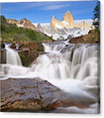 Los Glaciares Waterfall Canvas Print by Yva Momatiuk John Eastcott