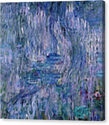 Waterlilies And Reflections Of A Willow Tree Canvas Print by Claude Monet