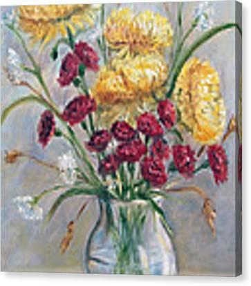 Yellow Mums Canvas Print by Katalin Luczay