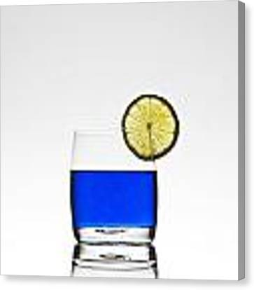 Blue Cocktail With Lemon Canvas Print