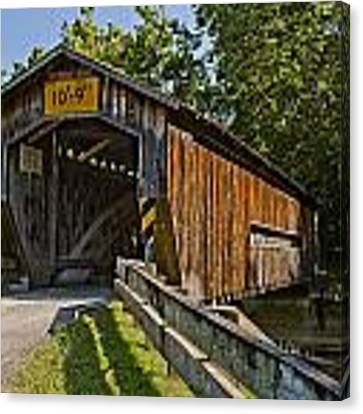 Benetka Road Covered Bridge Canvas Print by At Lands End Photography