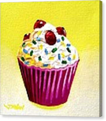 Cupcake With Cherries Canvas Print