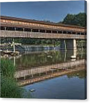 Harpersfield Road Bridge Reflection Canvas Print by At Lands End Photography