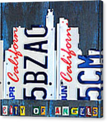 Los Angeles Skyline License Plate Art Canvas Print