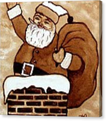 Santa Claus Gifts Original Coffee Painting Canvas Print by Georgeta  Blanaru