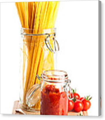 Tomatoes Sauce And  Spaghetti Pasta  Canvas Print