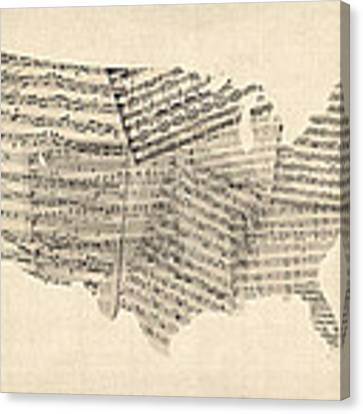 United States Old Sheet Music Map Canvas Print by Michael Tompsett