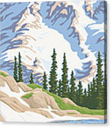 Vintage Mount Rainier Travel Poster Canvas Print by Mitch Frey