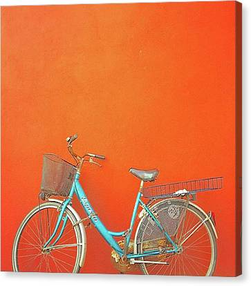 Blue Bike In Burano Italy Canvas Print by Anne Hilde Lystad