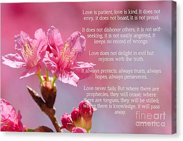 1 Corinthians 13 Love Is Canvas Print by Andrea Anderegg