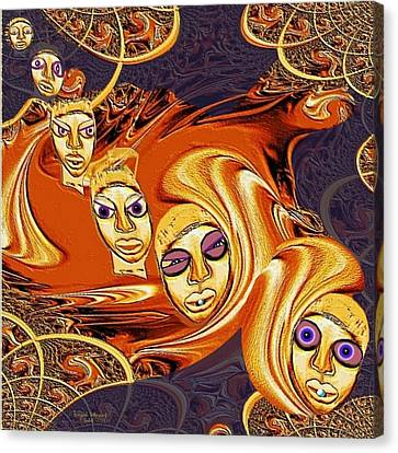 190 - Arrival Of The Demons ... Canvas Print by Irmgard Schoendorf Welch