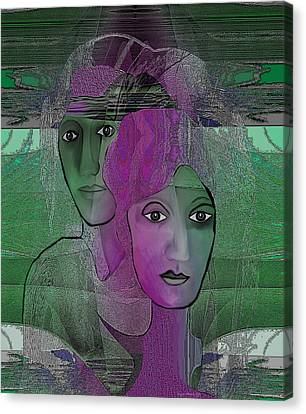 300 - Couple Purple - Green Canvas Print by Irmgard Schoendorf Welch